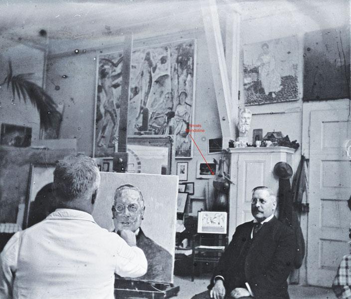 Portrait von Dr. Friedrich Trüssel, Öl/Leinwand, 1923, im Hintergrund an der Wand die Mandoline