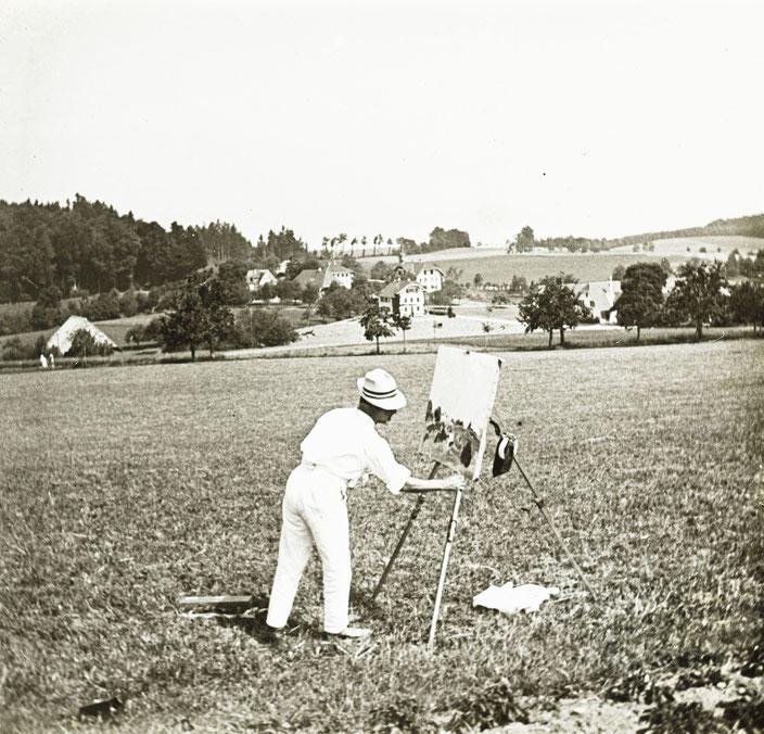 Cuno Amiet, 1919, malend auf der Oschwand