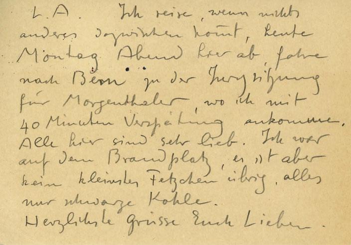 Cuno Amiet, Karte an Anna Amiet, Lagebericht Brandstätte, Münchner Glaspalast, 1931
