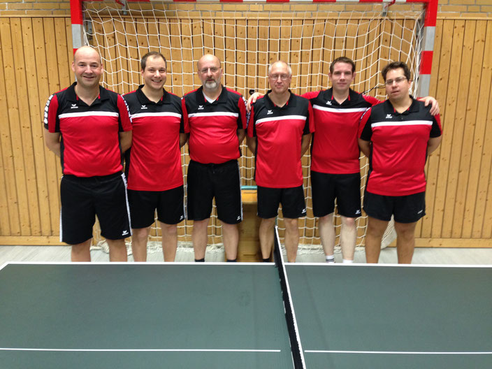 Stehend von links: Ingo van Lengen, Frank Großmann, Jakobus Onneken, Marcel Ebbelaar, Dennis Siebolds, Mark Großmann