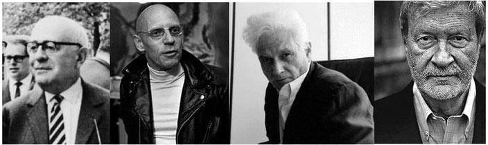 Da sinistra: Theodor Adorno, Michel Foucault, Jacques Derrida, Gianni Vattimo