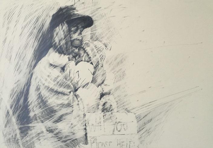 where is the humanity going.1 , pencil on carton , 70x100cm , Selina Saranova