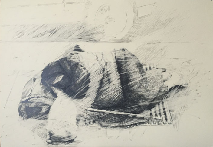 where is the humanity going.2 , pencil on carton , 70x100cm , Selina Saranova