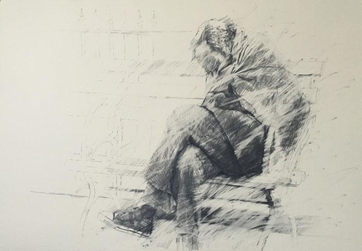 where is the humanity going.3 , pencil on carton , 70x100cm , Selina Saranova