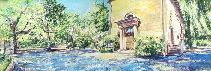 Auferstehungskirche im Stadtpark Fürth. Gemälde von Birgit Maria Götz