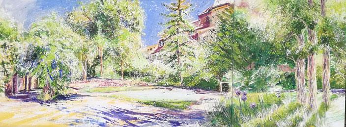 Stadtpark auf der Morgenseite der Auferstehungskirche. Gemälde von Birgit Maria Götz