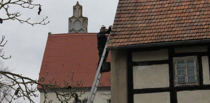 Reparaturarbeiten am Dach, Januar 2020, Foto: EvW