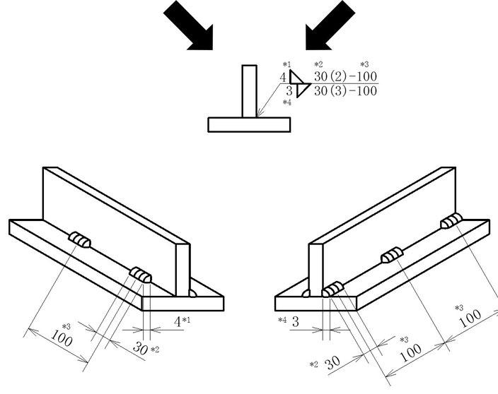 溶接長さを指示する場合のイメージその3です。