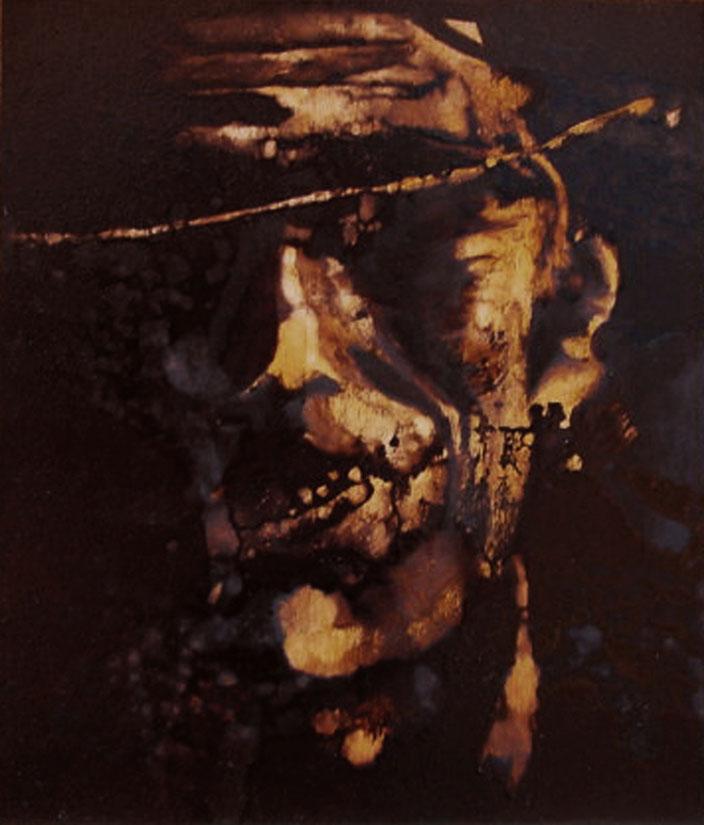"""""""M'hanno massacrato 'sti  'nfami..."""" (2009) olio su legno, cm (35 x 30)"""