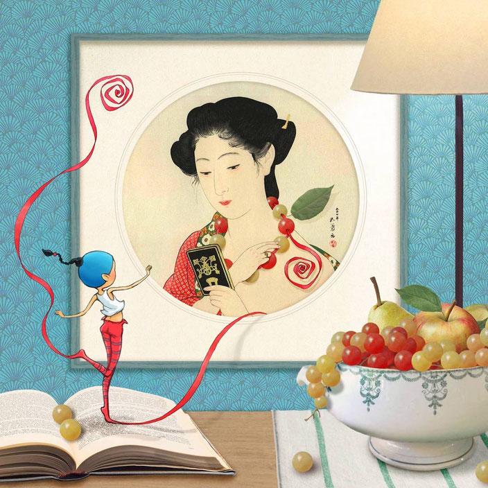 Timeliot fabrique un collier de grains de raisin à une femme d'une estampe japonaise