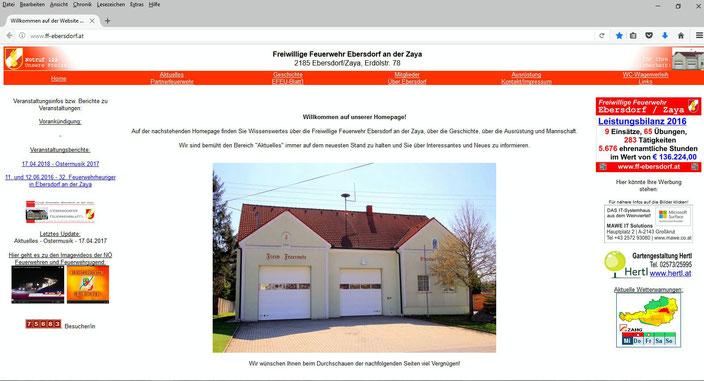 Die Starteseite der Homepage der FF Ebersdorf an der Zaya in den Jahren 2005 bis 2017.