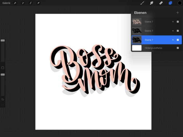Schritt für Schritt Anleitung für ein einfaches digitales 3D Lettering mit dem iPad und Procreate
