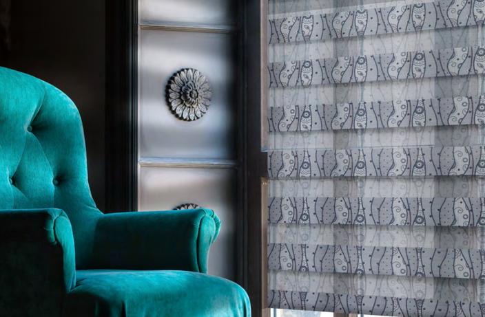 Рулонные шторы Зебра с тканью Кружево