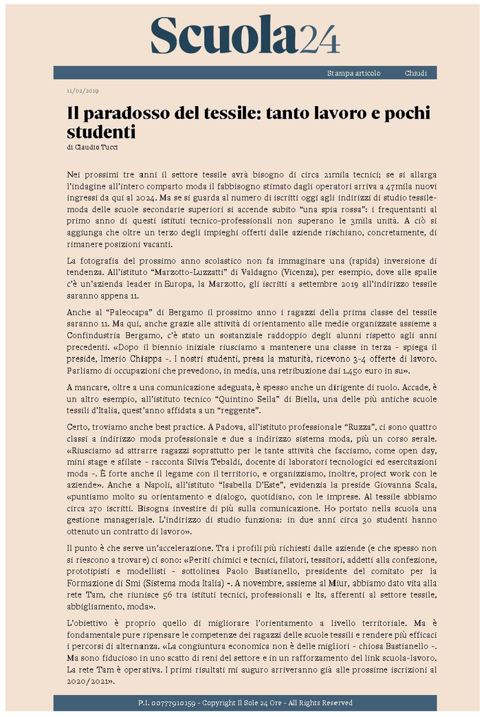 ARTICOLO CONCESSO DA ILSOLE24ORE