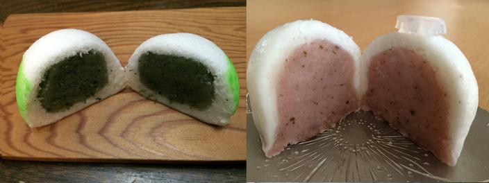 抹茶餡の薯蕷饅頭と桜餡の薯蕷饅頭