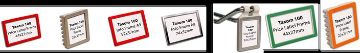 7 verschiedene Preisrahmen TAXOM 100 in unterschiedlichen Farben