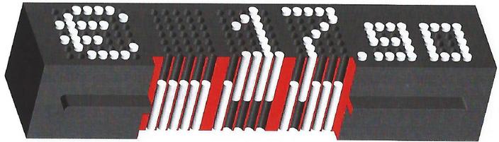 Schwarzes Taxom-Preismodul mit weißen Stiften, Bild zeigt Querschnitt