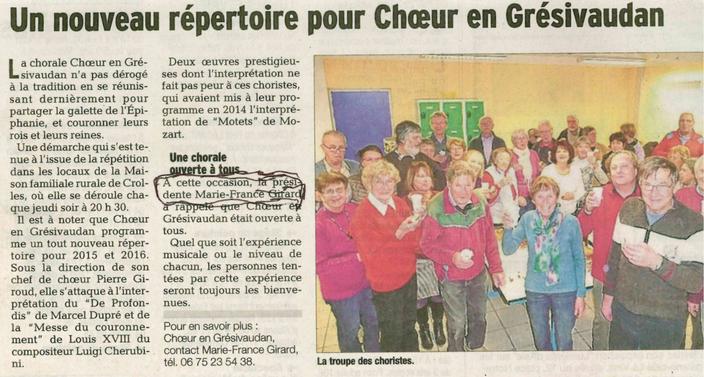 Article du Dauphiné Libéré du xx/01/2015