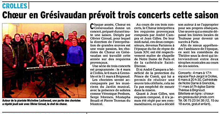 Article du Dauphiné Libéré du 17/02/2018