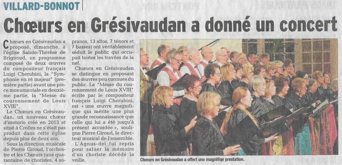 Article du Dauphiné Libéré du 07/12/2016