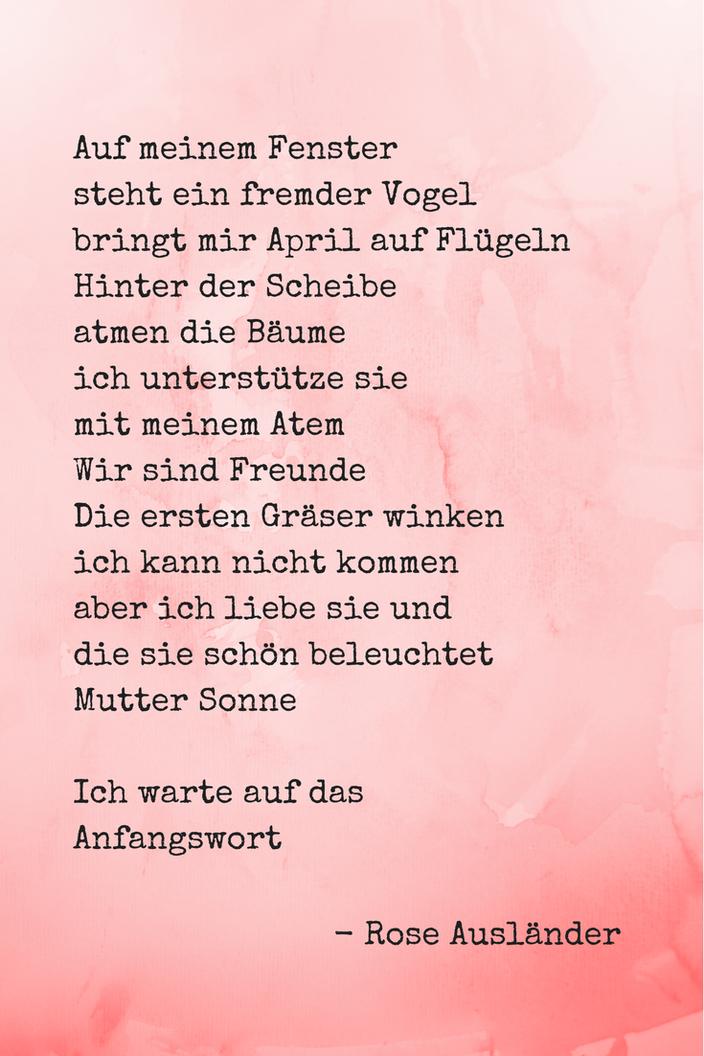 Poesiealbum: Gedicht des Monats März Rose Ausländer