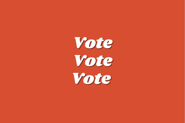 Roter Hintergrund mit weißer Aufschrift: Vote Vote Vote