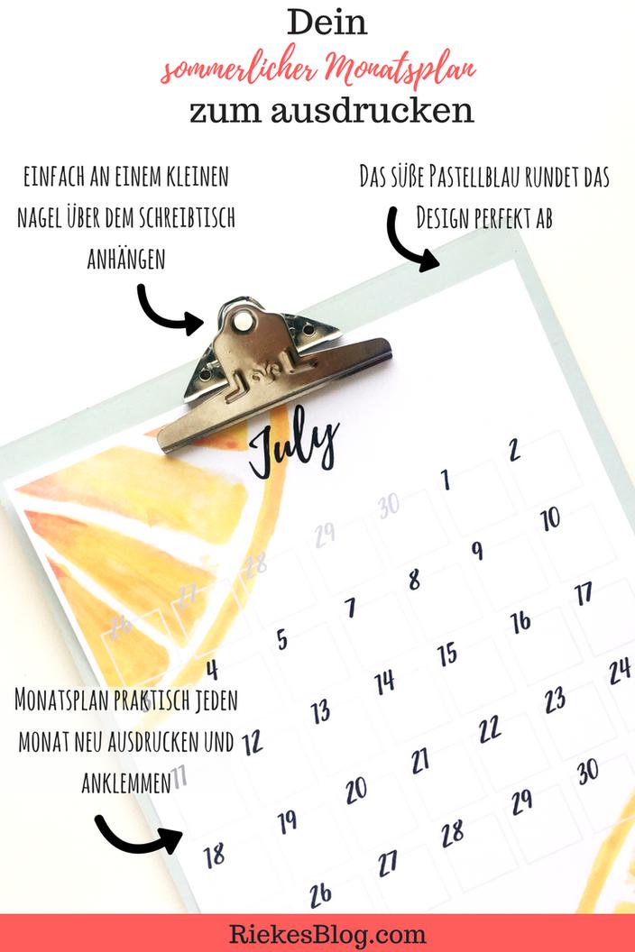 Dein sommerlicher Monatsplan zum ausdrucken Anleitung