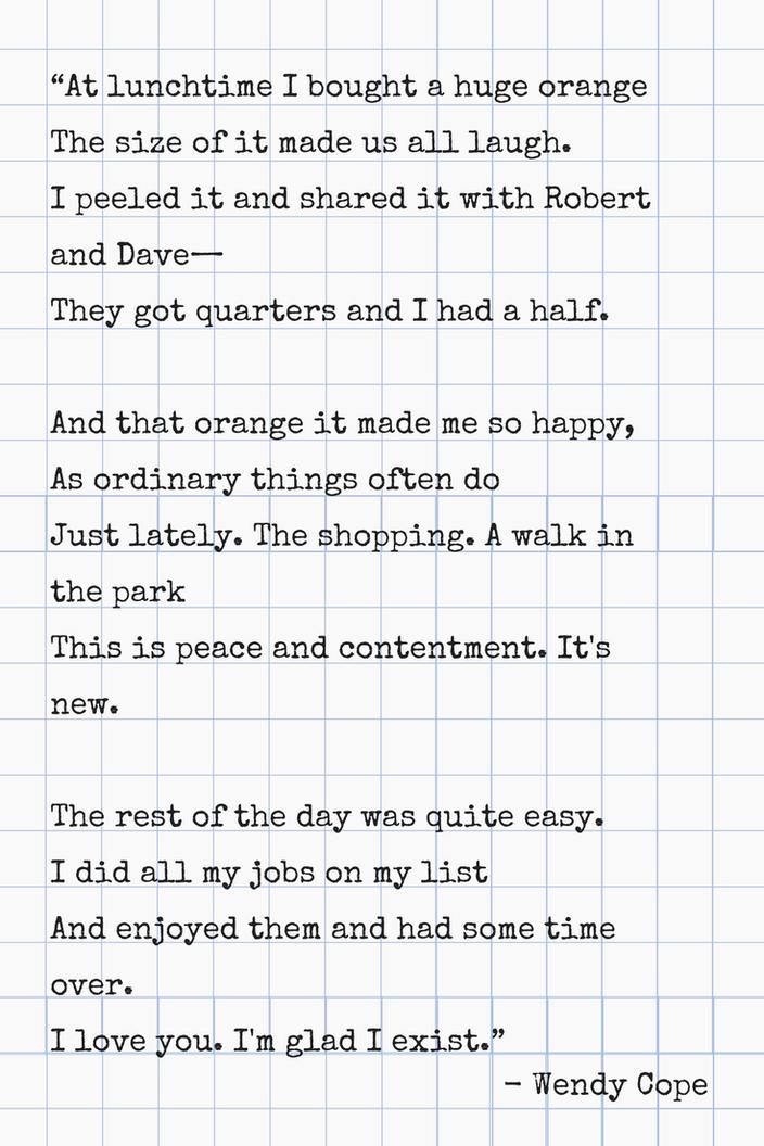 Gedicht des Monats: Wendy Cope