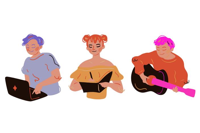 Take Up Space: Drei genderneutrale Personen von links nach recht am Computer, in ein Notizbuch schreibend, Gitarre spielend