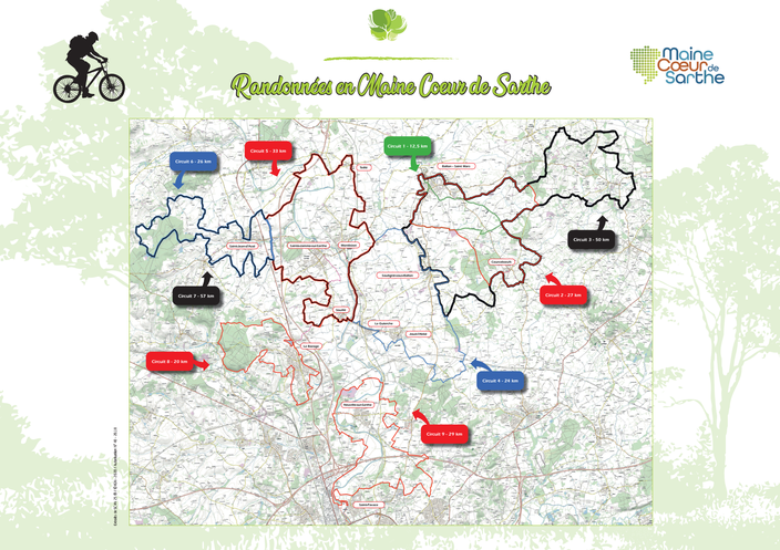 Carte des circuits VTT en Maine Coeur de Sarthe