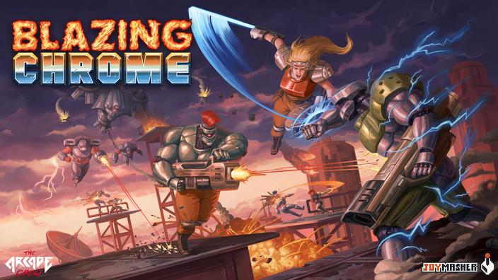 Blazing Chrome, The Arcade Crew, JoyMasher, Widerstand, Resistance, Mission, Roboter, Contra, Metal Slug, Seaven Studios, Mavra, Doyle, Raijin, Suhaila, Pods, Waffen, Arcade Modus, Boss Rush, Hardcore, Melee