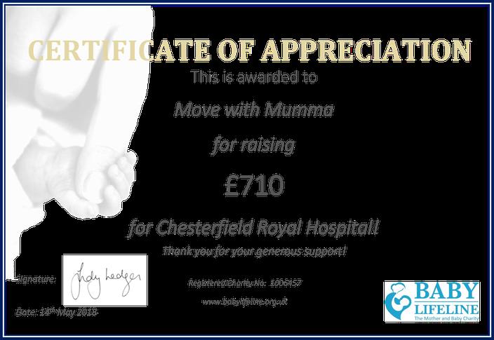 Move with Mumma & Baby Lifeline Certificate