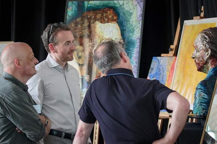 Henk Schut Marc Mulders, Axel Rüger directeur Van Gogh museum kunstenaar winnaars avrotros wedstrijd