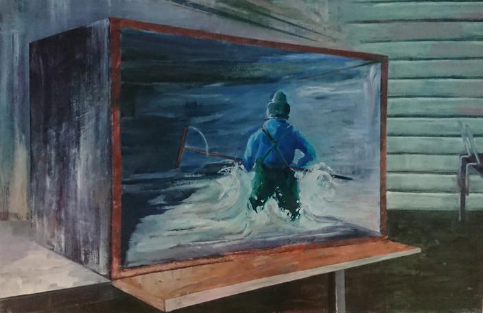oilpainting cm doos garnalenvisser interieur schilderij design kunst dozen olieverf schilderij man handen claireobscure bouwvakker pak mooi groot goed vakmanschap schilderkunst