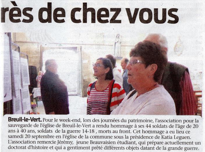 Septembre 2014 - Exposition aux journées du patrimoine dans l'église Saint Martin de Breuil le Vert