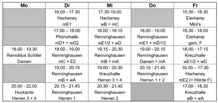 Trainingszeiten Saison 2019/20