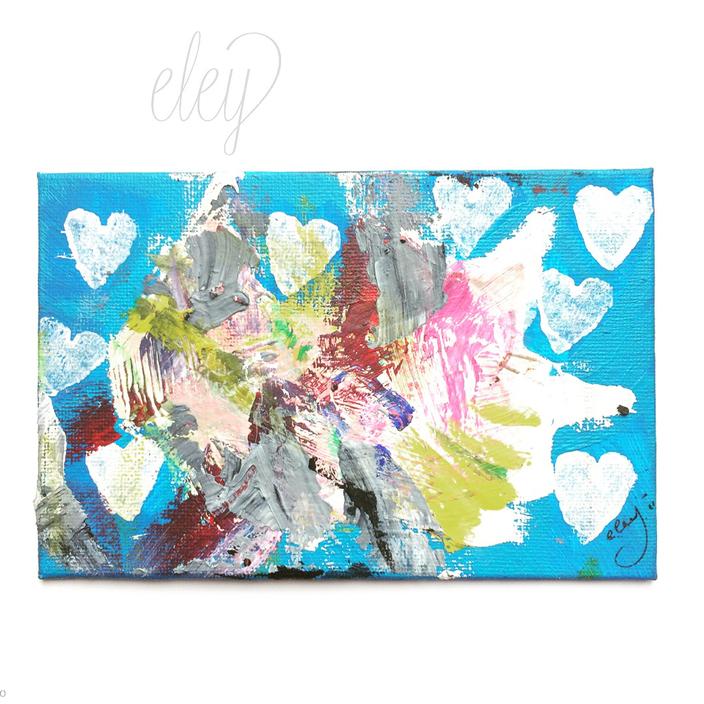 """Titel  """"Der Urknall oder Die Liebe meines Lebens"""" .  2018  .   10 x 15  .  Collage, Öl +Acryl auf Malplatte . 75 EUR"""
