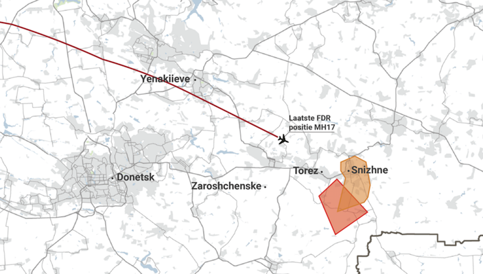 In red: launch area according to RMA. In orange: launch area according to NLR.