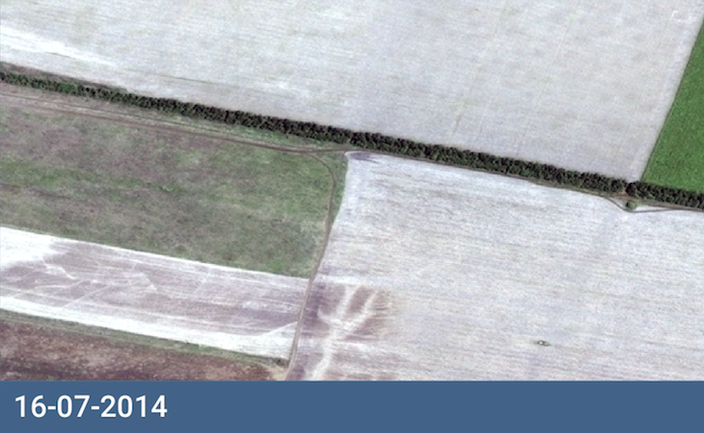 Satellite image discolored field July 16, 2014