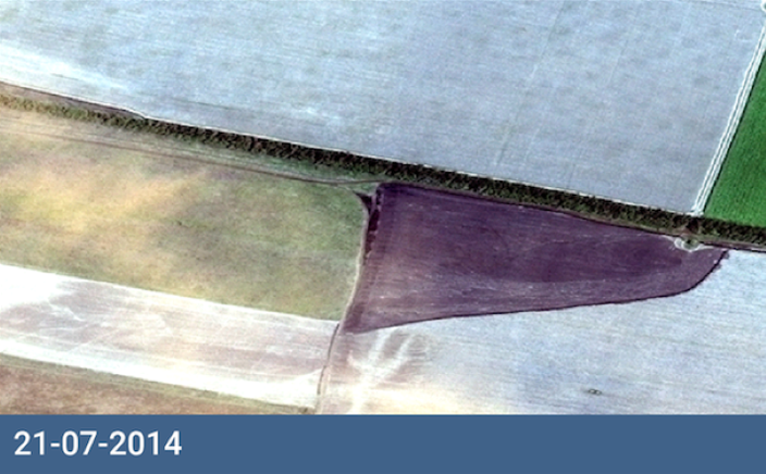 Satellite image discolored field July 21, 2014