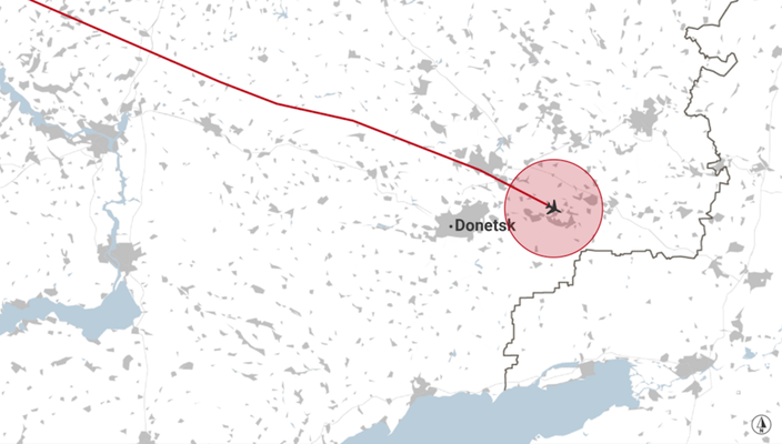 Launch site allegedly within a 36-kilomtres radius of the last position of flight MH17.