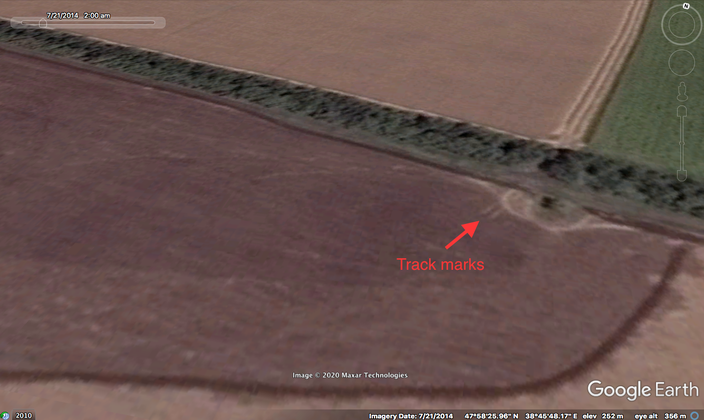 Straight vertical track marks designated by prosecution as track marks TELAR