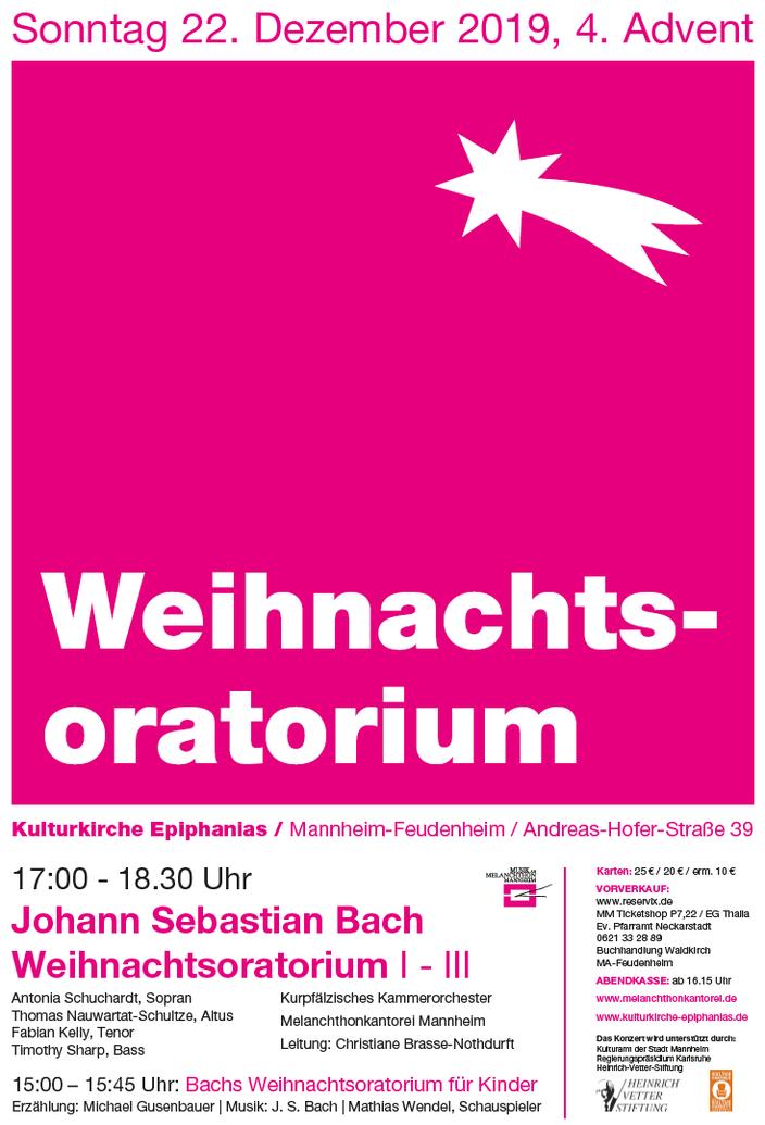 Plakat Bach Weihnachtsoratorium 22.12.2019