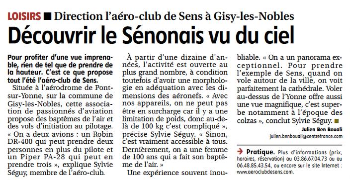 Reportage de l'Yonne Republicaine sur l'Aéro-Club de Sens - 17-07-02020