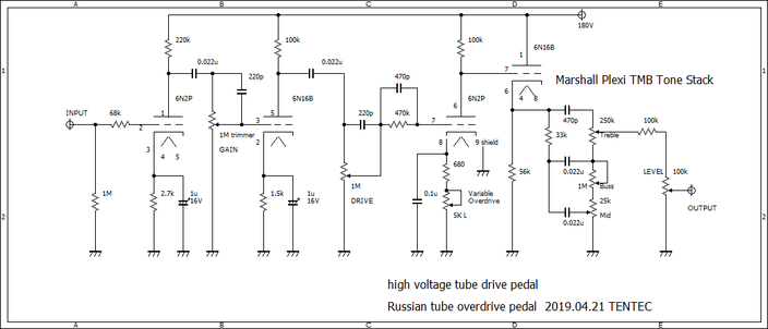 TMB Tone Stack High Voltage Tube Drive Overdrive Pedal schematic 真空管オーバードライブエフェクター回路図