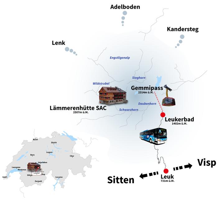 Standort der Lämmerenhütte in den Berner Alpen am Gemmipass bei Lenkerbad im Wallis, Hochgebirge, Hütte, Wandern, Klettern, Bergsteigen, Wildstrubel, Kandersteg, Adelboden, Visp, Leuk, Lenk, Engstligenalp, Montana, Sion, Brig, Lötschental, Rhonetal