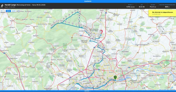 Die Strecke: 74km Start FFM über Feldberg mit Ziel Bad Homburg (zu Hause)
