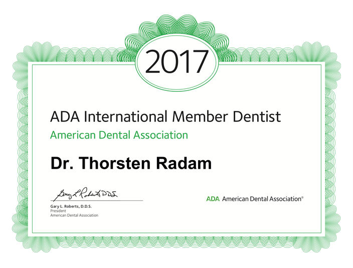 American Dental Association Member Dr. Thorsten Radam