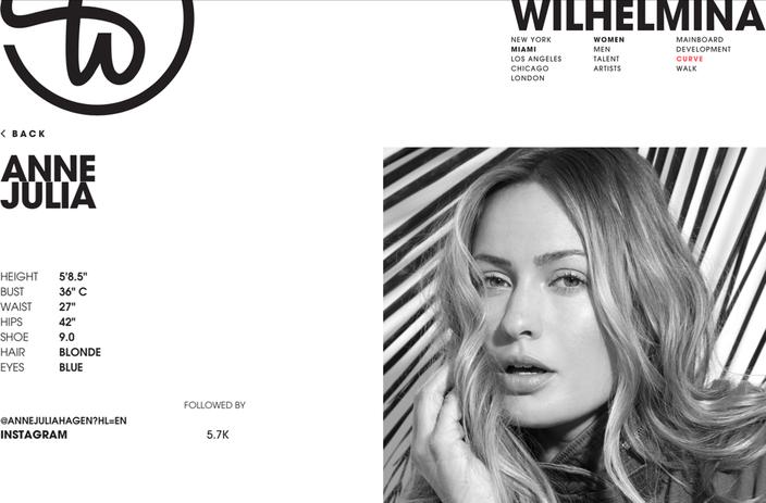 Online Portfolio auf der Agenturwebsite Wilhelmina Models