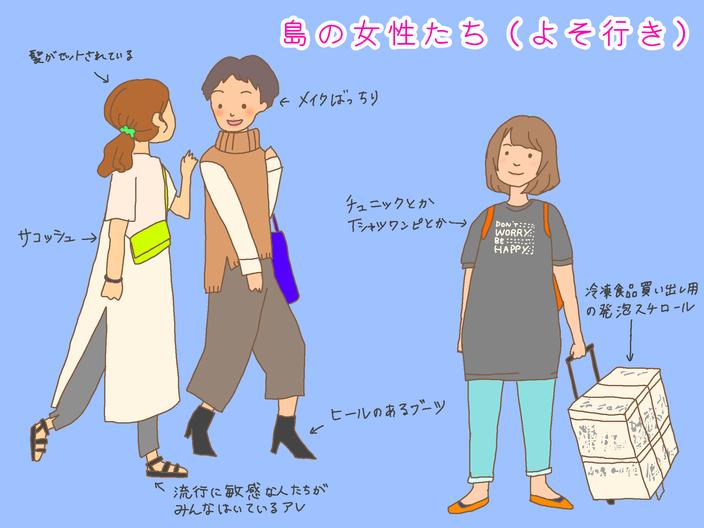 イラストでよそ行きのときの女性の服装を解説